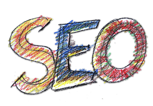 SEO letters in a colorful mix