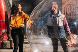 A couple in a bubble