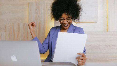 woman happy on her achievement