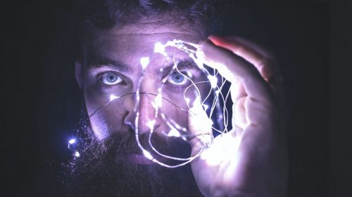 man with led lights