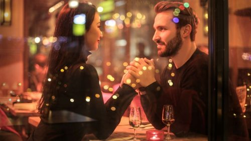 dating couple in a restaurant