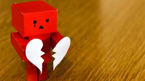 red amazon danbo with a broken heart